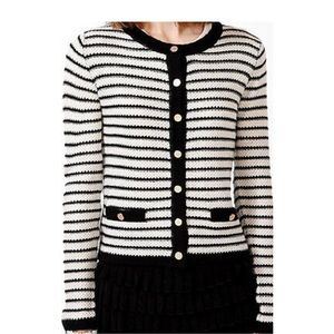 White black knit button front cardigan sweater M